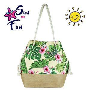 Handbags - Tropical Hibiscus Print Beach Bag / Tote
